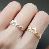 anel banhado a ouro das meninas venda por atacado-Nova Moda Montanha Anel de Ouro Tamanho Ajustável Sivler Rose Banhado A Ouro Cor para As Mulheres Senhoras Meninas Presente Anéis Jóias EFR031