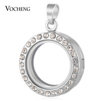 Wholesale Gold Glass Locket - VOCHENG 25mm Glass Memory Lockets for Floating Charms Openable Pendant with Crystal Gold and Imitation Rhodium Plated VA-245