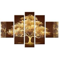 ingrosso oli astratti dipinti ad albero-Golden Tree 5 Panels 100% dipinto a mano astratta contemporanea floreale dipinti ad olio su tela Wall Art per soggiorno camera da letto decorazione della casa