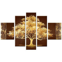 Wholesale Tree Life Abstract Hand - Golden Tree 5 Panels 100% Hand Painted Abstract Contemporary Floral Oil Paintings on Canvas Wall Art for Living Room Bedroom Home Decoration