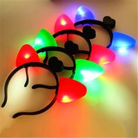 Wholesale Wholesale Prices For Led Lights - 2017 Christmas LED Cat Ears Headband Light Up Plastic Head Hoop Glowing In The Dark For Party Decoration Hot Sale Derict Factory Price