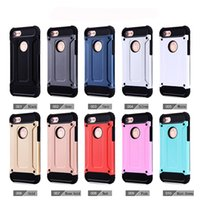 Wholesale Steel Phone Cases - For Apple iphone 7 plus 6 6S Samsung Galaxy S8 edge plus S7 Note 8 Steel armor TPU PC cell phone covers cases