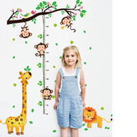 Wholesale Growth Height Chart For Kids - Cartoon Little Monkey Climbing the Tree Branches Wall Stickers Lion Giraffe Height Growth Chart Wallpaper Poster Kids Room Nursery Decor Art