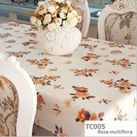 Wholesale High quality PVC pattern table cover waterproof oil proof table cloth none clean none wash antependium Rosa multiflora