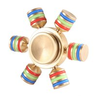 Wholesale Focus Diy - The six cfingers gyro Brass EDC Hand spinner Hand Spinner 6 Spins Fidget Spinner DIY Ceramic Bearing Focus Toys Decompression Toy colorful