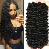 Wholesale 28 Inch Bundle Hair - Malaysian Curly Hair 3pcs lot Deep Wave Malaysian Hair Bundles 8-28 inch Natural Black Brazilian Peruvian Indian Curly Hair