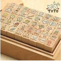 Wholesale New Wooden Cat Stamp - Wholesale- 40pcs set NEW cute toto cat and rabbit stamp gift set wooden box multi-purpose Decorative DIY funny work Wholesale