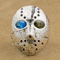 anillos de plata de ley para niños al por mayor-LINSION Plata de ley 925 Halloween Jason Mask Azul + Verde CZ Eyes Mens Boys Biker Rock Punk Ring 9D404 Tamaño EE. UU. 7 ~ 15