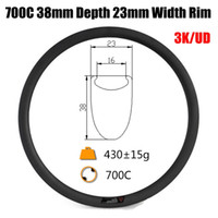 Hot Sale 700C 38mm Profundidade 23mm Largura Carbono Bicicleta Rims Clincher Tubular 3K UD Matte Glossy Full Carbon Fiber Bicycle Rim 415g-445g