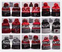Wholesale Dotted Paper - 24 Colors New winter Hot Falcons Football Pom Atlanta Beanies Football Beanies Knit Beanie Hats Warm Winter Caps Sports Team Hats
