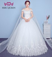 Wholesale Ribbon Luxury - ISER QUEEN Luxury Beading Cap Sleeve With Long Wrap Embroidery Appliques Vintage Princess Wedding Bridal Gowns WX0018