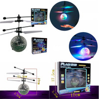 Wholesale Toy Helicopter Cheap - LED RC Helicopter Ball Flying Induction Noctilucent Ball RC Drones Remote Control Aircraft For Kids Toys Gifts Cheap Wholesale Free DHL 217