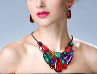 Conjuntos de jóias para mulheres Metal Geométrico Fake Gemstone 2 Color Option Choker Chunky Statement Pendant Bib Necklace Earring Jewelry Set