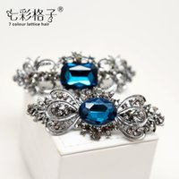 Wholesale Side Clip Extension - Woman headdress hair South Korea hair ribbon clip beautiful imitation diamond Masson top clamp side clamping collet female A0347 accessories