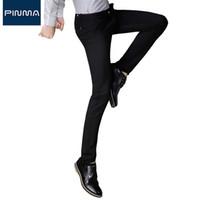 Wholesale chino trousers - Wholesale- 2017 New Mens Business Pants Designer Fashion Stretch Chino Pants Brand Men Dress Black Long Trousers Casual Pantalon Homme 474