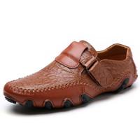 zapatos de cocodrilo hombres al por mayor-envío de la gota Zapatos de Conducción Casuales Patrón de Cocodrilo de Moda Masculina Zapatos Doug Zapatos Súper Suaves de Cuero Genuino Mocasines Zapatos Perezosos Hombres 38-48