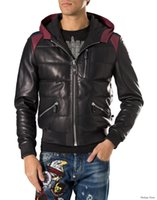 Wholesale Leather Jackets Punk Style Men - Top quality Tide Brand Fashion Desinger Faux Leather Punk jacket brand PV21 Downcoat PU Leather Sporty Style Men Casual Jacket M-3XL