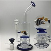 Wholesale Fishing Nail - Glass Bongs Water Pipes Bong Thick beautiful fish double honeycomb perc smoking pipe with bowl dome and nail Oil Rigs Dab Heady Rig