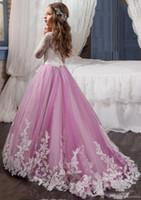 çocuk yarışması mor elbiseler toptan satış-Yeni Işık Mor Çiçek Kız 'Elbiseler Düğün Ekip Ekip Boyun Custom Made Dantel Uzun Kollu Çocuk Iletişim Kız Pageant elbise