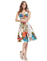 Wholesale Double V Cocktail Dress - Empire V Neck Cocktail Dresses Ever Pretty 2017 New Girl's Double V-neck Floral Print Satin Summer Dress Cocktail Dresses