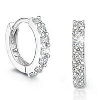 cristal de diamante suizo al por mayor-Pendientes de plata de grado superior pequeños suizos CZ Diamond Crystal Hoop Huggie pendientes para mujer de la muchacha joyería del banquete de boda de calidad superior