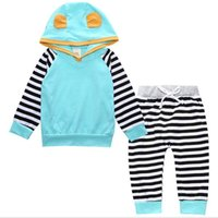 Wholesale Posh Outfits - New Posh Baby Boy Clothing Set Striped Long Sleeve Boys Clothing Hoodies with Pants Toddler Outfit Boy Girls Hoodies Set