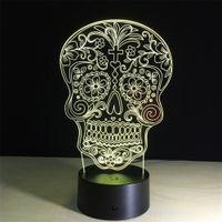 ingrosso luce di notte incrociata-Croce penitenza Teschi Effetti 3D LED Illusione ottica Touch Botton Colorful 3D Lampada Night Light OF KIDS