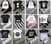 Wholesale Mixed Girl Babies - 4 sets lot(can mix styles)INS Baby boy Girl Clothing suits Children Clothing Set Newborn Baby Clothes Cotton Baby sets 112 styles for choose