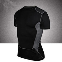 Wholesale Spandex Under Clothes - Men's Short Sleeve Compression Under Base Layer T-Shirts Athletic Skin Tops Short Sports Body Armour Man Fitness Gym Clothing Tshirt