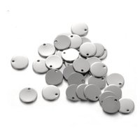Wholesale Blank Charms - 100PCs, 8mm Round Dog Tags Stainless Steel Silver Stamping Blanks Charm Pendants DIY Jewelry Findings Accessories For Lettering