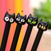 Wholesale Parker Ink Pen Black - 12pcs lot Cute Black Cat Gel Ink Pen Japanese Pens A Pen Parker Pen Gel boligrafo gel negro penne kawaii pine united