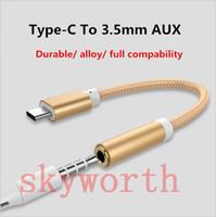 nota de audio al por mayor-Nuevo adaptador de audio de tipo C a 3.5 mm AUX Jack de audio AUX tipo C USB para iPhone Nexus 5X 6P Samsung Note 7