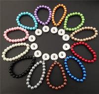 noosa perlen schnappen großhandel-Mix Farben Kinder Mädchen 15cm Länge Glas Perlen Noosa Chunks Metall Ingwer 18mm Druckknöpfe Armband Schmuck