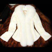 künstliche weibliche großhandel-Neue Ankunft 2018 Frauen Pelz Weißer Mantel mit Faux Fox Pelzkragen Weibliche Schwarz Künstliche Mantel