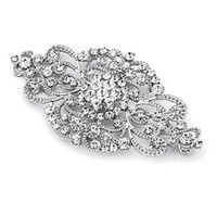rose gold düğün broşları toptan satış-2 Inç Vintage Stil Rhinestone Kristal Çiçek Muhteşem Broş Düğün ve Moda Glam Hem Gümüş hem Gül Altın Mevcut