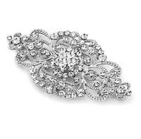 roségold hochzeit broschen großhandel-2 Zoll Vintage Style Strass Crystal Floral wunderschöne Brosche Hochzeit und Mode Glam sowohl Silber und Rose Gold erhältlich