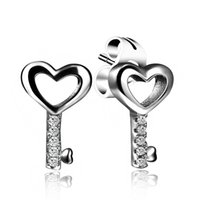Wholesale Sterling Silver Key Earrings - 925 Sterling Silver Key Earring Ear Stud for Female Wedding Party Gift