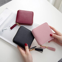Wholesale Gift Cards Business - 2017 Best Selling! Genuine Leather Women Short Wallet Zipper Purse Short Handbag 3 Colors For Girl Lady Nice Gift Money Bag