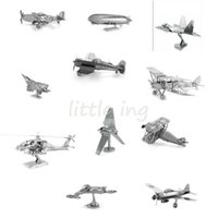 Wholesale Airplane Model Puzzle - Wholesale- 3D puzzle metal DIY jigsaw 3D airplane Helicopter Zero Fighter aircraft Models Building Kits puzzle juguetes educativos toys