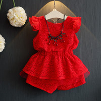 Wholesale Lace Ruffles Girls Clothing - Everweekend Girls Red Lace Outfits Fly Sleeve Ruffles Tops and Shorts 2pcs Sets Summer Sweet Baby Paty Clothing