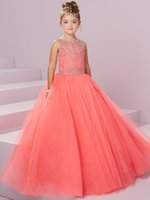 Wholesale Girl Child Model Sexy - Sexy Coral Girls Pageant Dresses 2017 Kids Wedding Dress Girl Evening Gown Custom Made Sleeveless Beaded Crystal Children Graduation Gowns