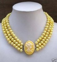 Wholesale Pearls Cameo Necklace - FREE SHIPPING>>Charming Elegant 3Row Yellow Pearl Necklace Cameo Beauty Clasp