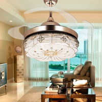 Wholesale pendant nickel - 42Inch Led Invisible Ceiling Fans Light Remote Control Fan Lights Living Room Bedroom Modern Chandeliers Ceiling Light Pendant Lamp