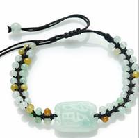 Wholesale Woven Jade Charm Bracelet - 100% A Grade Natural Jade Jadeite Pixiu Handmade Weave Bracelet Can adjustable Size 1PCS