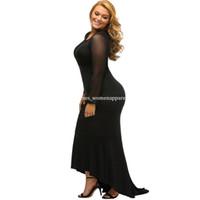 Wholesale Solid Black Mermaid Prom Dress - XL-3XL plus size HI-Lo dresses Fashion elegant Party Maxi dresses sexy long sleeve Mermaid Sweep Train Maxi prom evening Cocktail dress new