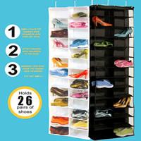 Wholesale Hanging Shoe Racks - Good selling New Arrival 26 Pocket Shoe Rack Storage Organizer Holder, Folding Door Closet Hanging Space Saver with 3 Color
