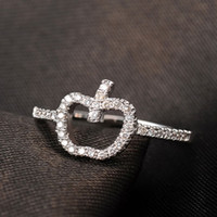 Wholesale Apple Shape Plate - ROXI Brand Rings for Women Cute and Trendy Ladies Ring White Gold Plated Ring Apple Shape Decoration Zircon Ring Fashion Jewelry