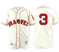 Wholesale Throwback Atlanta Braves Babe Ruth Retro Cream White with Blue Sleeves Vintage Baseball Jerseys by M N