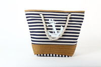 Wholesale Stripe Canvas Tote Beach Bags - Free Shipping Classical Women Ladies Fashion Boat Anchor Canvas Shoulder Bag Stripes New Messenger Bag Summer Handbag Beach Bags Totes