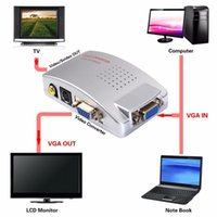 Wholesale vga rca video - PC TO TV Adapter VGA to AV RCA TV Monitor S-Video Signal Converter Adapter Switch Box PC Laptop